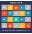 Tourism icon set Multicolored square flat buttons vector image