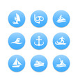water sports icons diving surfing sailing vector image