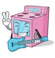 with guitar gas stove character cartoon vector image