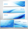 blue wave stationary set including business card vector image