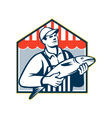 Fishmonger Holding Fish Retro vector image vector image