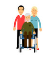 happy disabled senior man with his family colorful vector image