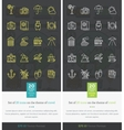 Set Icons on the Theme of Travel and Vacation vector image