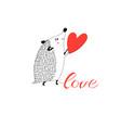 congratulatory funny hedgehog with heart vector image