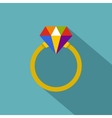 Ring LGBT icon flat style vector image