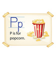A letter P for popcorn vector image