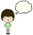 cartoon whistling boy with thought bubble vector image