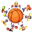 Happy cheerleaders around basketball vector image vector image