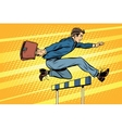 Businessman running hurdles vector image