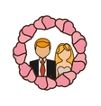 cartoon couple wedding hearts badge design vector image