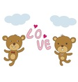couple bear happy with love vector image