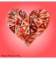 Pink abstract valentines day heart with triangles vector image