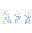 Comic picture of walking soldiers vector image