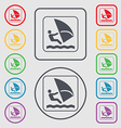 Windsurfing icon sign symbol on the Round and vector image