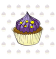 A cup cake with violet icing vector image vector image