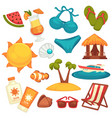 Summer holiday equipments and clothes poster on vector image