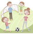 Family on vacation playing football vector image