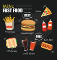 fast food menu on chalkboard background vector image