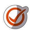 orange symbol round with ok mark icon vector image