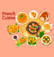 french cuisine popular national dishes icon design vector image
