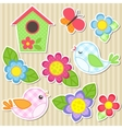 Set of flowers and birds vector image vector image