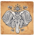 Vintage Indian elephant with tribal ornaments vector image