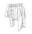 Hand drawn wardrobe sketch Cartoon clothes vector image