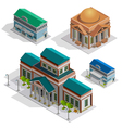 Bank And Museum Buildings Isometric Icons vector image
