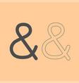 ampersand dark grey set icon vector image