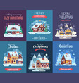 christmas card with forest winter house by night vector image