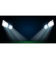 Four spotlights on a football field vector image