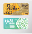 gift voucher two cards pattern thai business card vector image