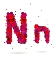 Letter n made from hearts Love alphabet vector image