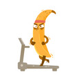 serious banana character running on treadmill vector image