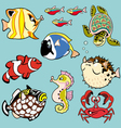 set with cartoon fishes vector image