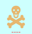 skull and bones set it is color icon vector image