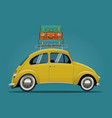 Yellow travel car vector image