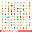 100 meditation icons set cartoon style vector image
