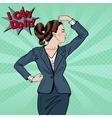Pop Art Confident Business Woman Showing Muscles vector image