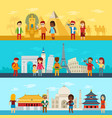 people travel around world tourists looking and vector image
