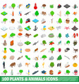 100 plants and animals icons set isometric style vector image