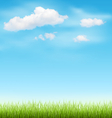 Green Grass Lawn with Clouds on Blue Sky vector image
