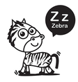 Z Zebra cartoon and alphabet for children to vector image