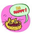 be happy cartoon cat head vector image