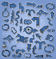 blue arrows icon set for web page design esign vector image