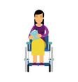 disabled woman in wheelchair reading a book vector image
