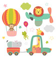 set of isolated transport with baby jungle animals vector image