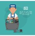 mechanic cartoon auto rapair icon graphic vector image