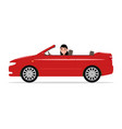 cartoon girl riding in a red car cabriolet vector image