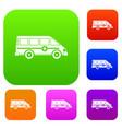 ambulance emergency van set color collection vector image